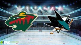 Wild Logo and Sharks Logo on Ice Hockey Background
