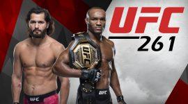 Kamaru Usman and Jorge Masvidal with UFC 261 Logo
