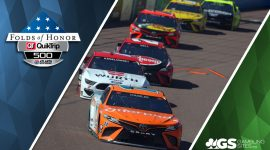 NASCAR Cars at Atlanta Motor Speedway and Folds of Honor QuikTrip 500 Logo