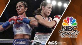 Amanda Serrano and Daniela Bermudez With the NBC Sports Logo