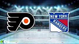 Flyers Logo and Rangers Logo on Ice Hockey Background