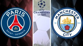 PSG, Manchester City, and UEFA Champions League Logos