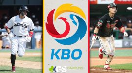 KBO Logo and Players Running Down Baseline