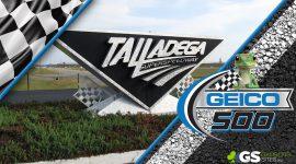 Geico 500 Logo and Talladega Super Speedway Sign